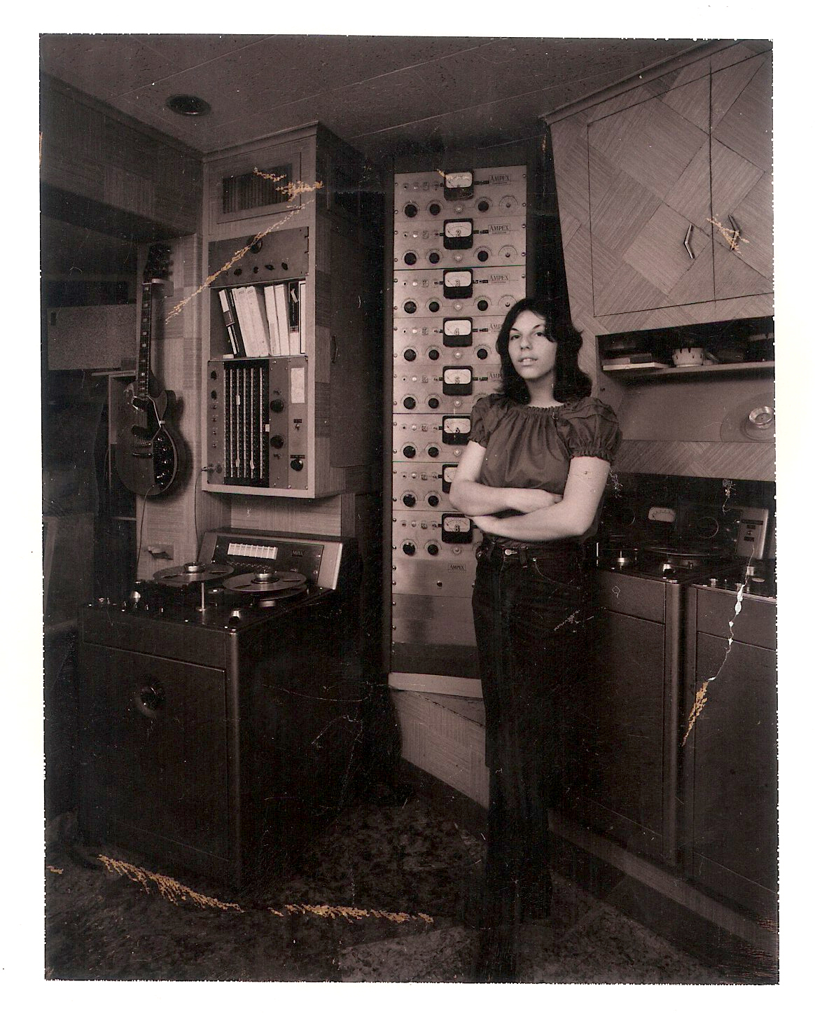 Kari in the Les Paul Studio in Mawah, NJ 1970's
