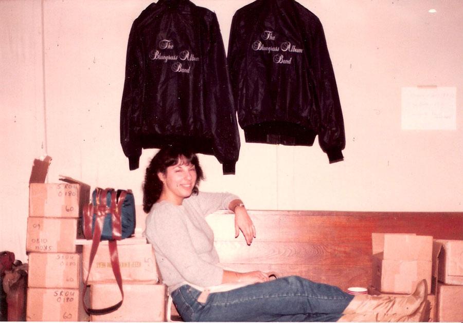 Kari relaxing on The Bluegrass Album Band Tour 1985