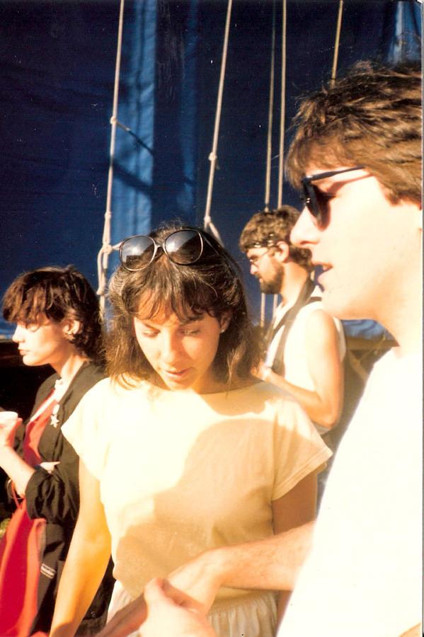 Kari and Bela Fleck - backstage at Newport