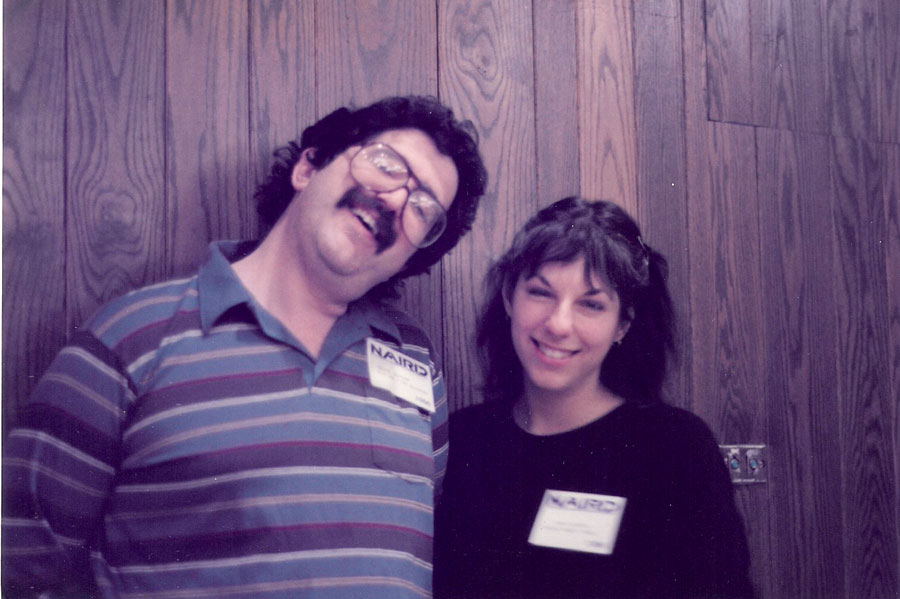 A tired Bruce Kaplan (Flying Fish Records) and Kari at NAIRD - Indie record convention 1980's