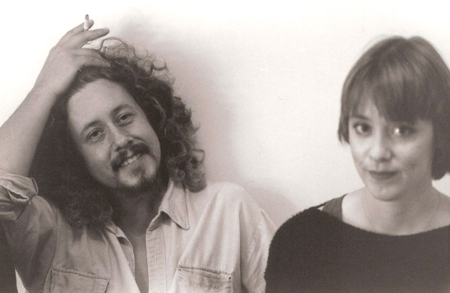 Arlo Guthrie and Suzanne Vega backstage - Kari photographer/Tour Manager for Suzanne 1985